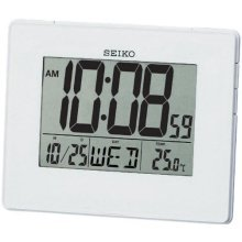 Seiko QHL057W LCD Alarm Calendar Clock  White