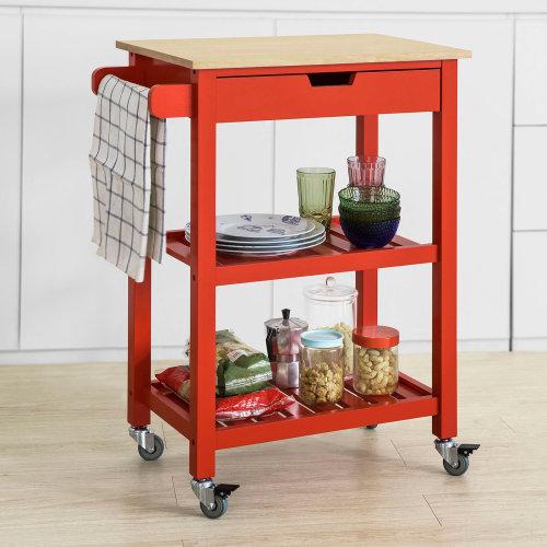 SoBuy® FKW66-R, Kitchen Storage Trolley Serving Trolley Kitchen Shelf