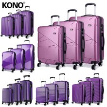 KONO 3 Pieces Suitcase Luggage Travel Bag Hard Shell ABS PC Trolley Case Purple 20 + 24 + 28 Inch