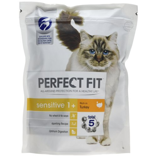 Perfect Fit Turkey Sensitive Cat Complete Dry Food, 750 g - Pack of 3 (Total 2.25 kg)