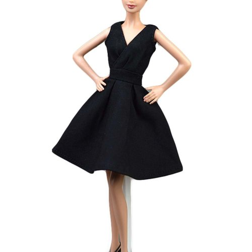 Classic Black Doll Cocktail Dress Handmade Doll Evening Dress Doll Clothes