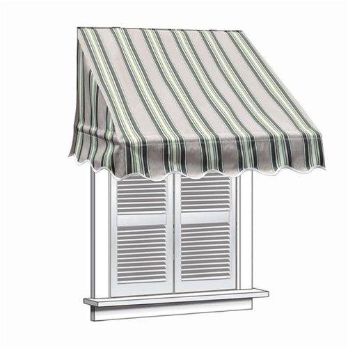 Aleko WAW8X2MSTRGR58-UNB 8 x 2 ft. Multistripe Window Door Canopy Decorator Awning, Green