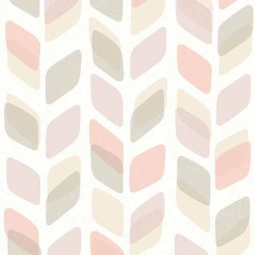 NEW GALERIE UNPLUGGED ABSTRACT LEAF PATTERN RETRO GEOMETRIC VINYL WALLPAPER ROLL[PURPLE PEACH UN3004]