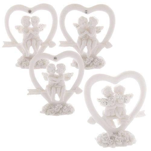 White Cherub Heart Angel Roses Glitter Wings Cupid