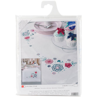 """Modern Flowers Table Runner Stamped Embroidery Kit-16""""X40"""""""
