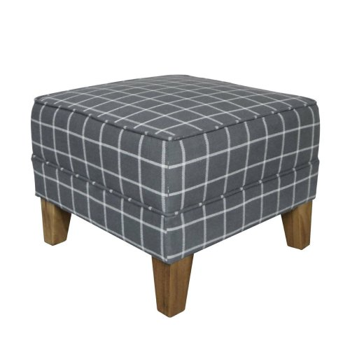 Premier Housewares Square Medan Feature Footstool Upholstered Grey Check Woven