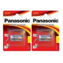 2 x Panasonic CR123A 3V Lithium Photo Battery 123 CR123 DL123 CR17345 Camera