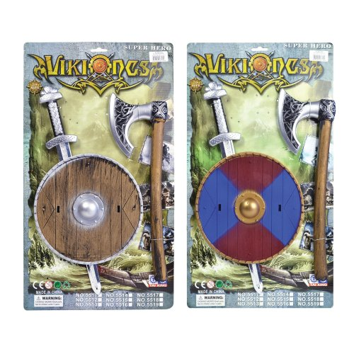 Viking Plastic Sword, Shield & Axe Set - Kids Fancy Dress Sword Warrior Saxon - Kids FANCY DRESS VIKING SWORD SHIELD AXE SET WARRIOR SAXON BOOK WEEK