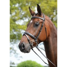 Kincade Padded Headpiece Flash Bridle with Reins: Brown: Full