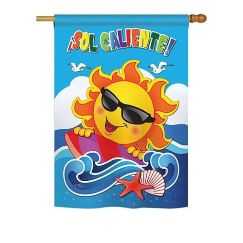 Breeze Decor BD-SU-H-106069S-IP-BO-DS02-US Sol Caliente Summer - Seasonal Impressions Decorative Vertical House Flag