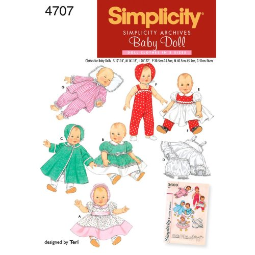 Simplicity Baby Doll Clothes In Three Si-S,M,L