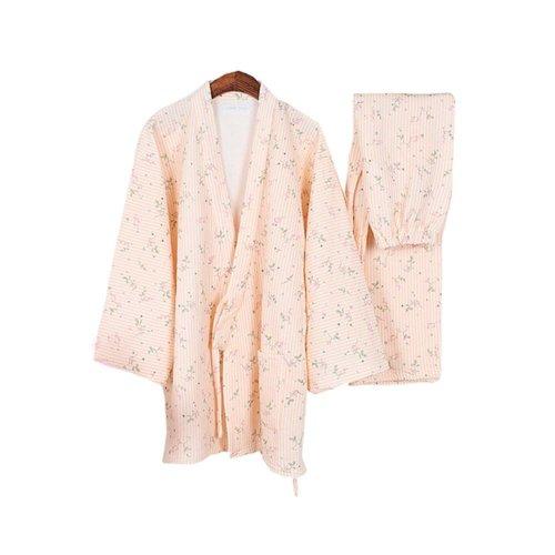 Stripes Floral Women's Pajamas Suit Pajamas Cotton Pajamas Kimono Pajamas