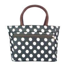 Ladies Fashionable Zipper Purse Handbag White Dots Printed Tote Bag Black