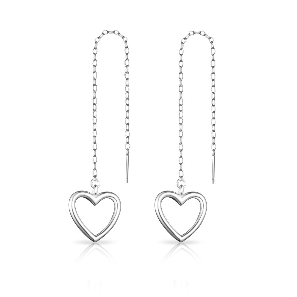764793693 Sterling Silver Heart Thread Earrings on OnBuy