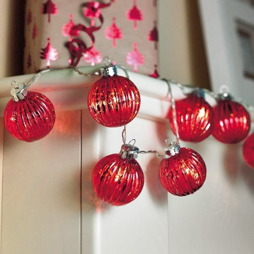 Sentik 10 LED Battery Powered Shimmering Glass Bauble Garland Indoor Fairy Lights Red