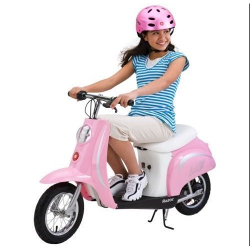 Razor Pocket Mod Bella Girls Electric Ride On Bike Scooter Moped Pink 15mph
