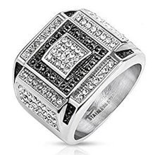 17.9mm Width Black and Clear Crystal Square Micro Paved Stainless Steel Cast Ring