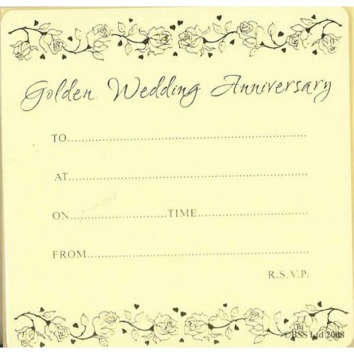 Golden 50th Anniversary Invitation Cards (Pack of 10) by Jean Barrington