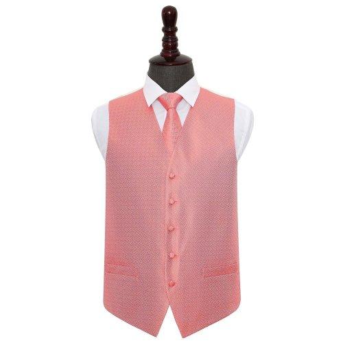 Coral Greek Key Wedding Waistcoat & Tie Set 40'