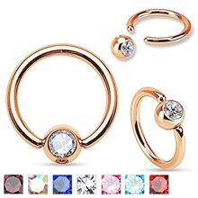 Crystal Gold Plated Surgical Steel CBR Captive Bead Ring Universal Piercing Jewellery