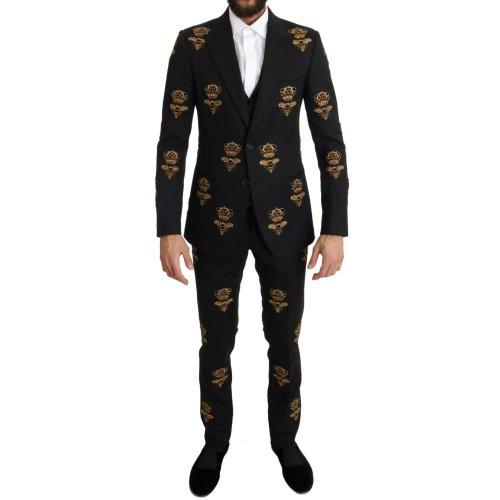 Dolce & Gabbana Black Wool Gold Crystal Bee Crown Slim Fit Suit