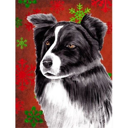 11 x 15 in. Border Collie Red and Green Snowflakes Holiday Christmas Garden Size Flag