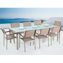 Garden Table and Chairs - Dining Set - 8 Seater - Cracked Ice Glass - Beige Chairs - GROSSETO