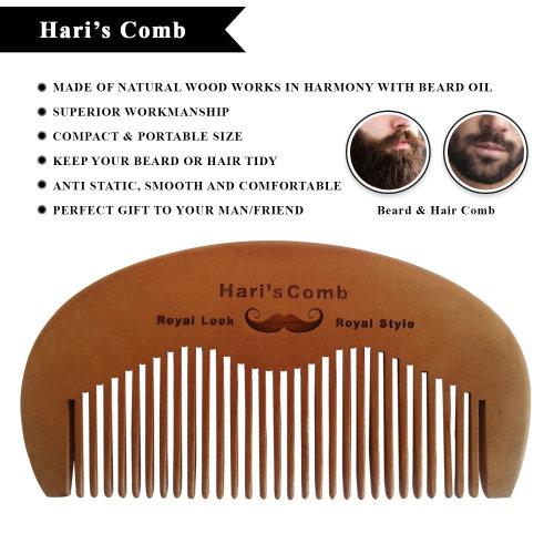 Hari's Beard Mustache Grooming Comb for Men Gents Finest Peach Wood