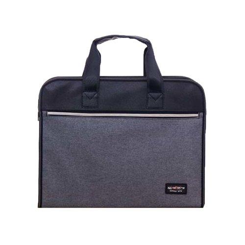 Portable Document Bag Zipper Bag Multi-layered Data Bag Briefcase, Gray