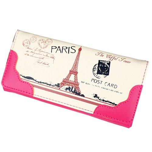 Elegant PU Long Wallet Purse Clutch Wallet Card Holder (Rose Red)
