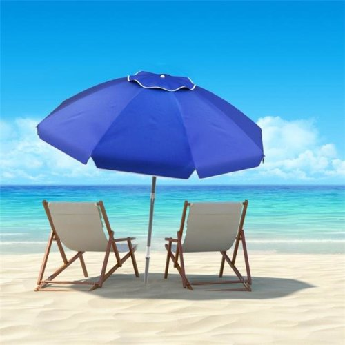 Pure Garden 50-LG1094 Beach Umbrella with 360 deg Tilt Portable Outdoor Sun Shade Canopy with UV Protection - 7 ft. - Blue