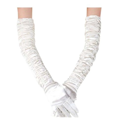Women's Long White Lace Elegant Bridal Gloves for Wedding/ Party/ Performance,F