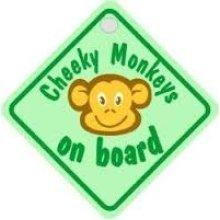 Green Cheeky Monkeys Diamond Car Window Sign -  cheeky monkey green diamond castle promotions sign dh07 suction cup