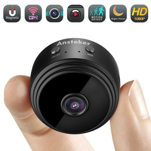Mini Spy Camera, Ansteker WiFi Hidden Camera Wireless HD 1080P with Motion Detection Night Vision Indoor Security Cameras, Nanny Baby Pet Cam for...