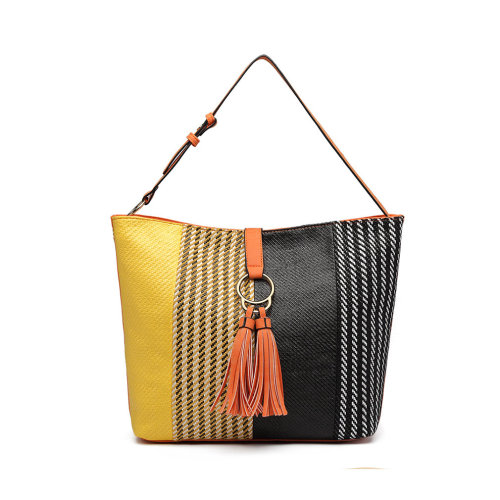 Miss Lulu Handbag Woven Straw Block Panel Shoulder Bag Tote Orange on OnBuy c4d94fb5df315