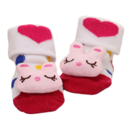 3 Pairs Non-slip Newborn Baby Toddler Socks Comfortable Warm Stockings Baby Birthday Gift For 6-12 month-A01