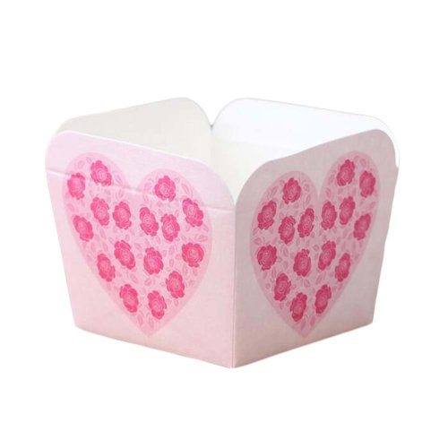 50 Pcs Paper Baking Cup Heat-Resistant Square Cupcake&Muffin Cup - Rose Heart