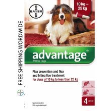 Pack 4 Advantage 250 Large Dog 10kg - 25kg (21lb - 55lbs) - Bayer