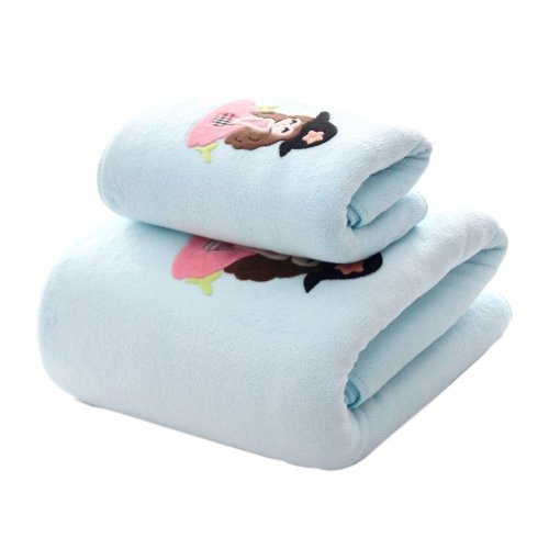 Soft Fiber Bath Towel Set Absorbent for Bathroom Beach Sport, Blue girl, Set of 2