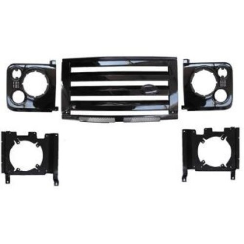 LAND ROVER DEFENDER XS GRILLE & LAMP SURROUND - SILVER WITH BLACK MESH