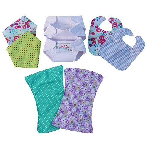 Baby Doll Just Like Mommy Starter Set 2 Bibs, 3 Diapers, 2 Burp Cloths