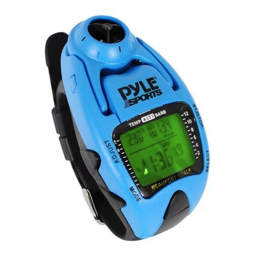Pyle Sports PSWWM90BL Wind Speed Meter w/ Wind Chill Temp., Altimeter, Barometer, Compass, 10 Laps Chronograph Memory, Yacht Timer (Blue Color)