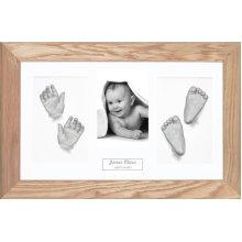BabyRice Large Baby Casting Kit (great for Twins!), 14.5x8.5' Solid Oak Frame, White mount, Silver metallic paint