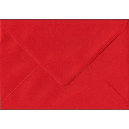 Poppy Red Gummed C6/A6 Coloured Red Envelopes. 100gsm FSC Sustainable Paper. 114mm x 162mm. Banker Style Envelope.