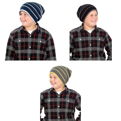 Kids/Childrens Unisex Striped Winter Knitted Slouch Hat