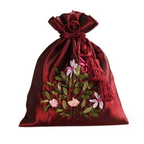 Gorgeous Wedding Gift Bag Ribbon Embroidery Jewelry Organizer Pouch Bags, Pattern Random(B)
