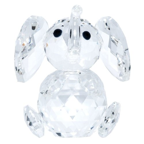 Transparent Crystal Elephant Ornament with Curved Trunk by Happy Homewares