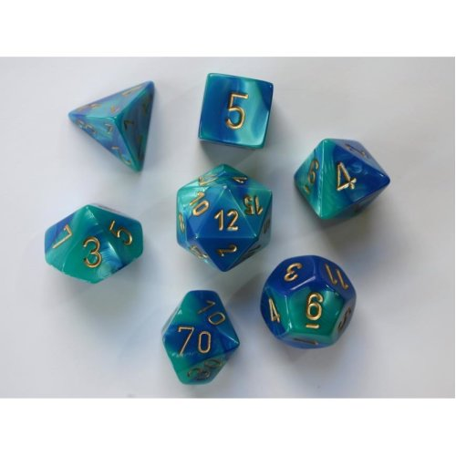 Chessex Gemini Polydice Set - Blue-Teal/gold