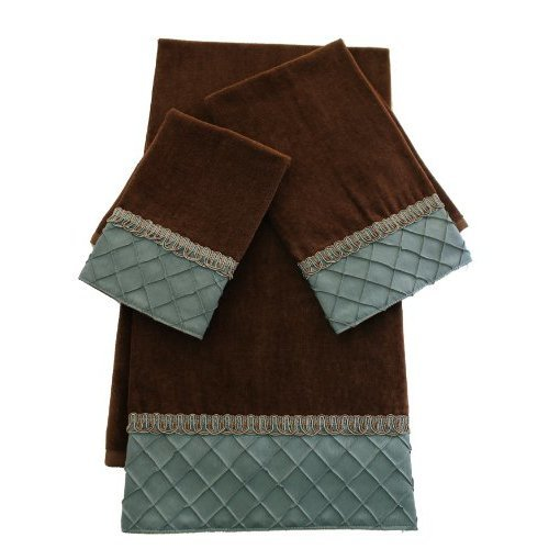 Sherry Kline Pleated Diamond 3 Piece Decorative Towel Set Brown Blue