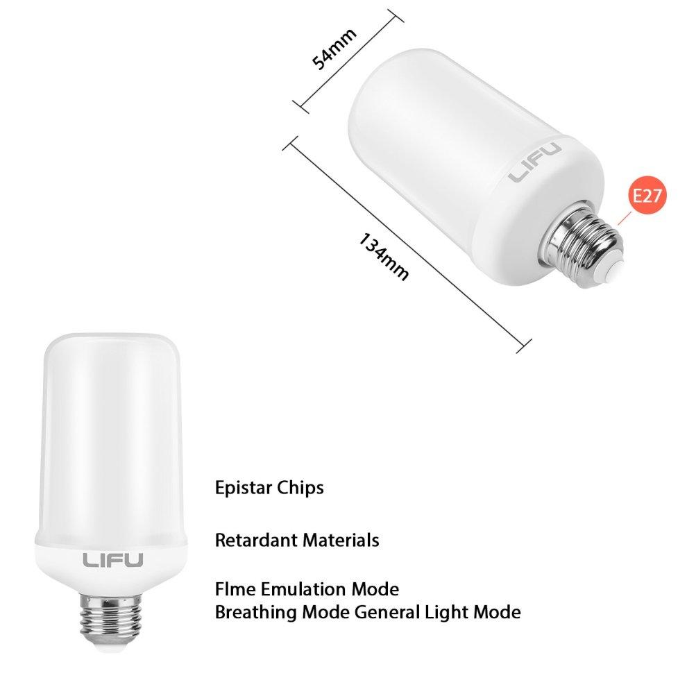 Led Bulbs, LIFU Flame Lighting LED Flicker Flame Bulbs E27 1500K